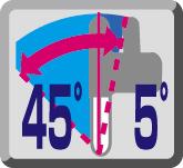 Рязане под ъгъл ляво 45º / дясно 5º